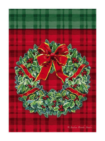 Plaid Wreath Christmas Flag
