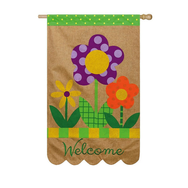 Welcome Polka Dot Flowers Burlap House Flag
