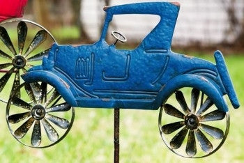 Open Road Vintage Car Kinetic Garden Stake