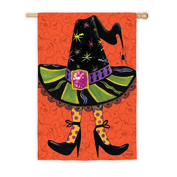 Witches Hat With Glitter Jewel Halloween Flag