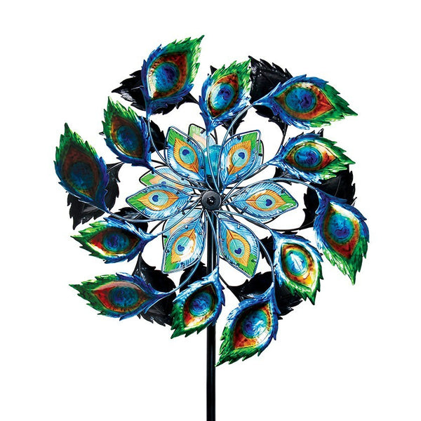 Exhart Giant Peacock Kinetic Garden Spinner