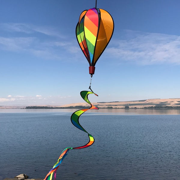 Rainbow Stripes Spinning Hot Air Balloon with Spiral