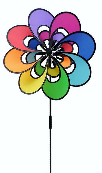3D Rainbow Double Flower Wind Garden Spinner
