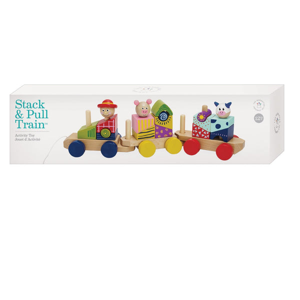 Manhattan Toy - Stack & Pull 24 Piece Wooden Blocks Train