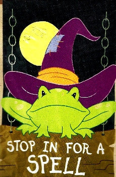 """Stop in for a Spell"" Frog Flag"