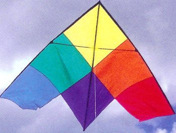 4 Foot Patchwork Delta Kite with Line & Handle Included