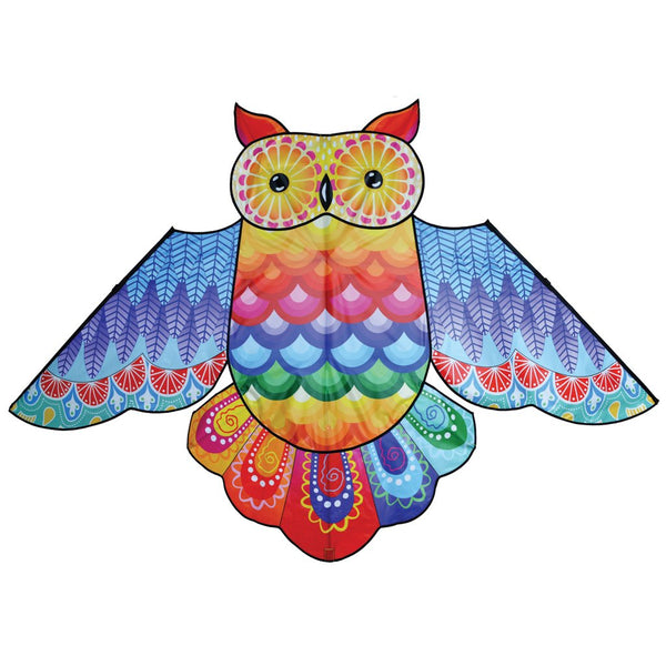 86 Inch Rainbow Owl Kite with Flying Line & Handle