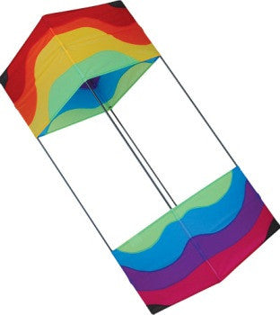 Traditional Box Kite - Wavy Rainbow with Flying Line & Handle