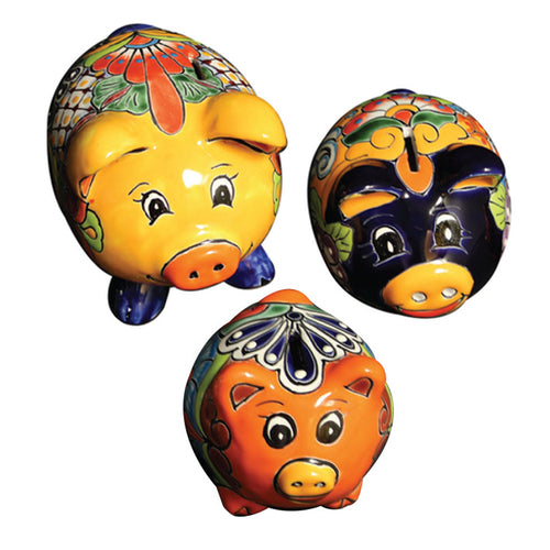 Talavera Round Body Piggy Bank