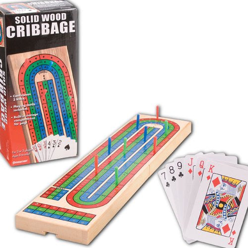 Folding Cribbage Game Board with Cards