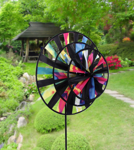 Triple Tie Dye Wind Garden Spinner