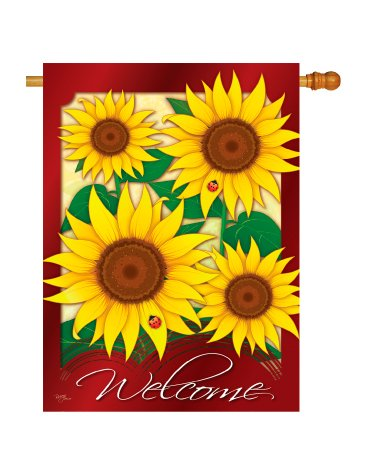"""Welcome"" Sunflowers Flag"