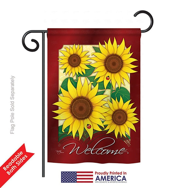 """Welcome"" Sunflowers Garden Flag"