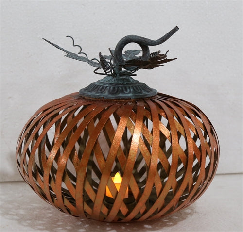 Large Metal Stripe Pumpkin TeaLight Holder