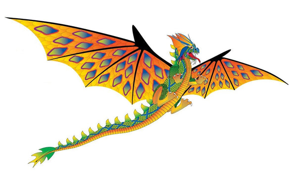3D Supersized Green & Orange Dragon Kite with Line Included