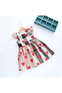 Heart Plaid Dress/Beige