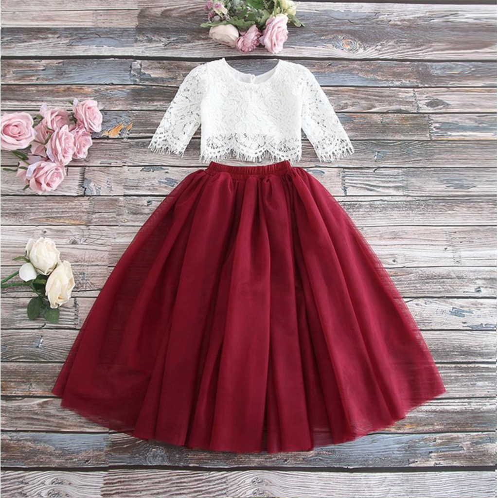 "The ""Charlotte"" Girls Lace Top and Skirt Set - Maroon"