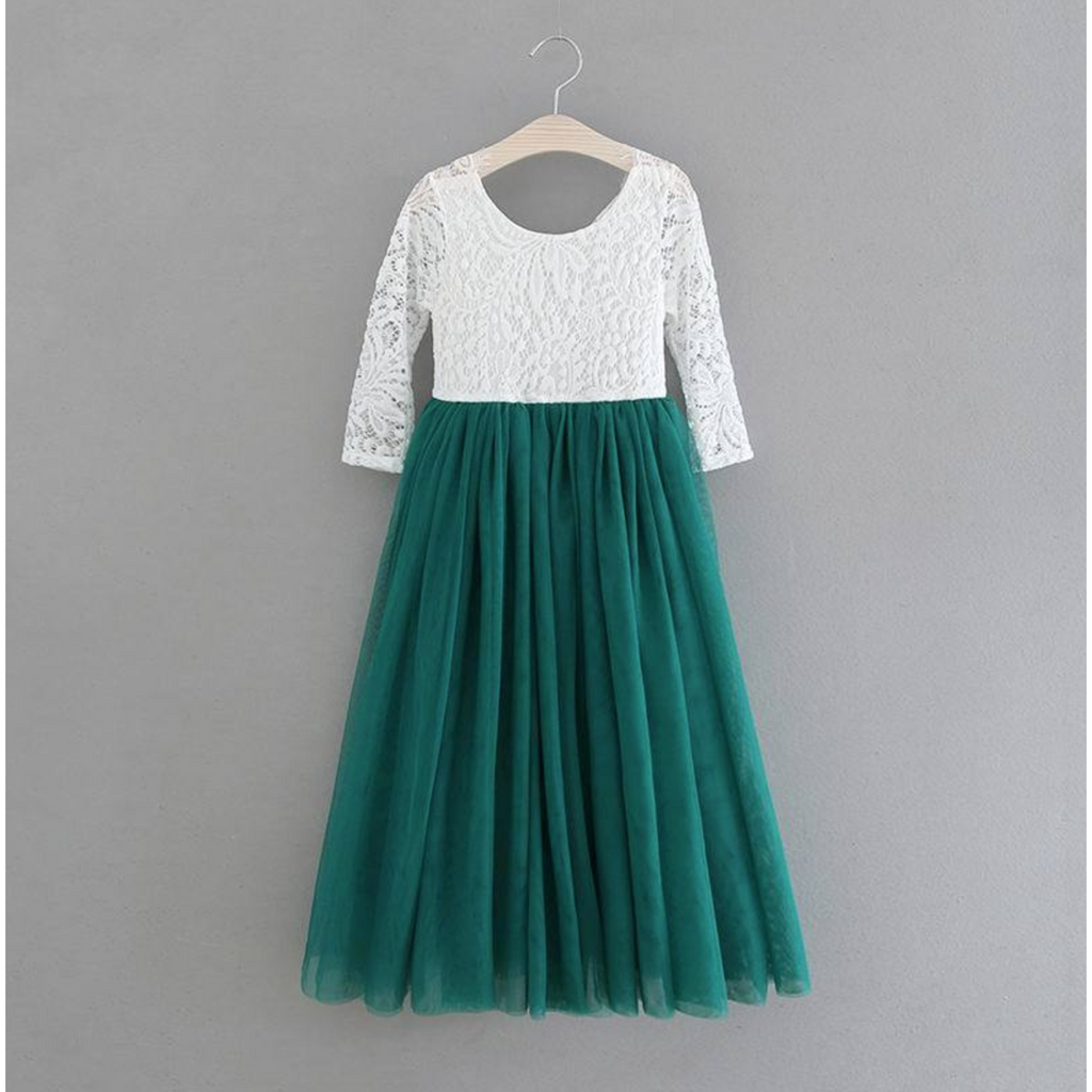 "The ""Alannah"" Lace Dress - Pinegreen"