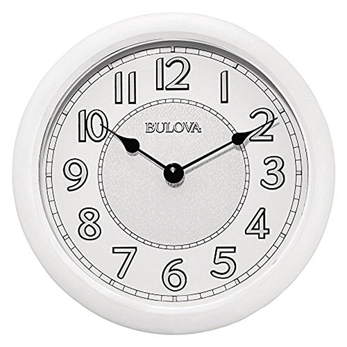Bulova Versatile White Weatherproof Metal Case Wall Clock C4842