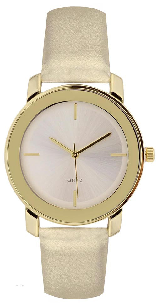 Geneva Women's Stainless Steel Gold Tone Faux Leather Watch 10178GOLD