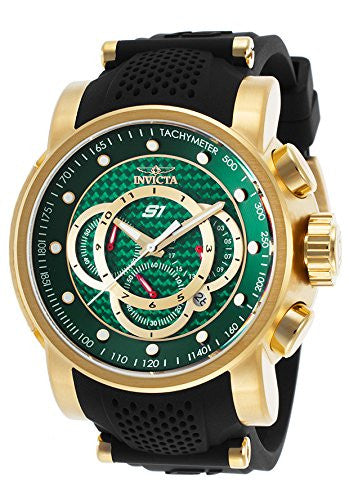 Invicta Men's S1 Rally Chrono Green Dial Gold Plated Black Silicone Watch 19329