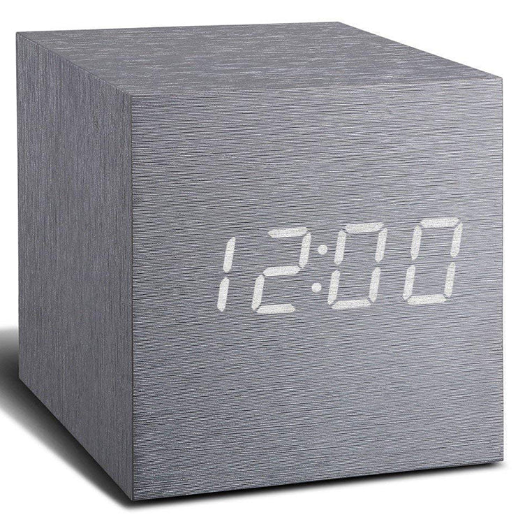 Gingko Aluminum Cube Digital Click Clock/White LED Alarm Clock GK08W6