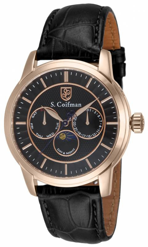 S. Coifman Men's Chrono Quartz Moon Phase Rose Gold Case Leather Watch SC0215