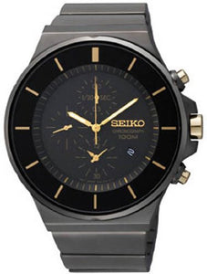 Seiko Men's Chronograph Gold Tone Black Stainless Steel Watch SNDD57
