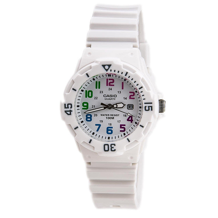 Casio Women's Dive Inspired Analog Glossy White Resin Watch LRW200H-7B