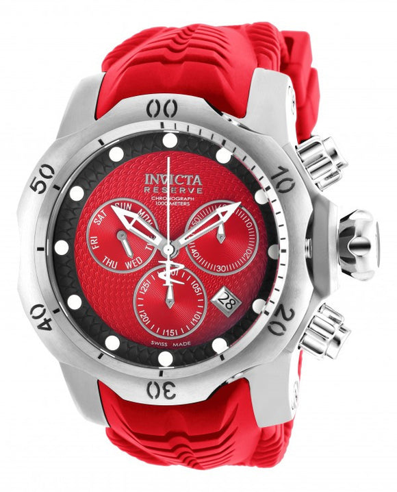 Invicta Men's Venom Chronograph 1000m Stainless Steel Red Silicone Watch 19009
