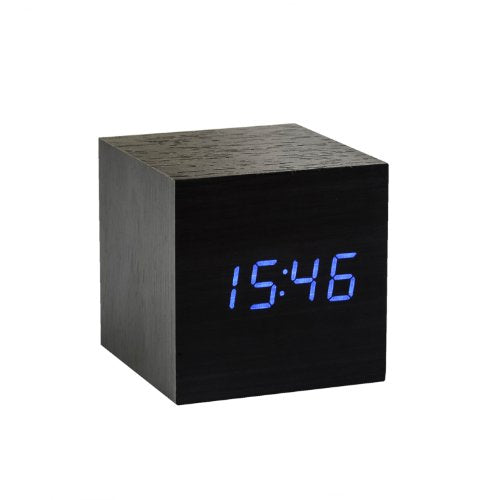 Gingko Black Cube Click Clock With Blue LED Display