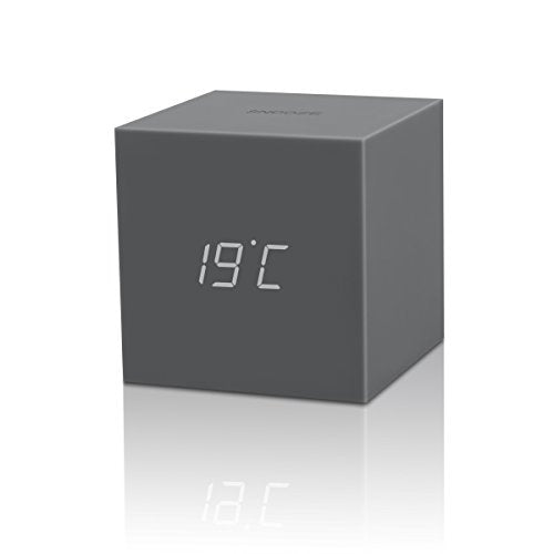 Gingko Gravity Cube Click Clock Grey Alarm Clock 18GY