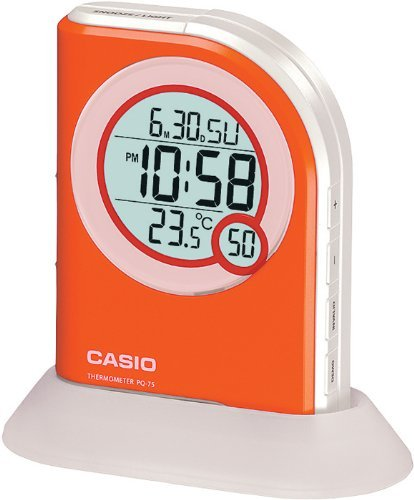 Casio Multi Function Thermometer Table Top Orange Digital Alarm Clock PQ75-4