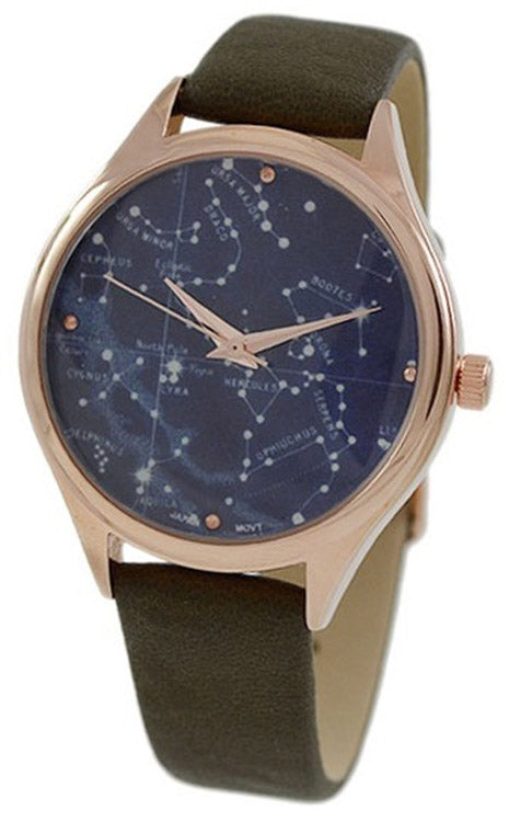 Geneva Unisex Galaxy Casual Watch w/ Olive Leather Strap 10047