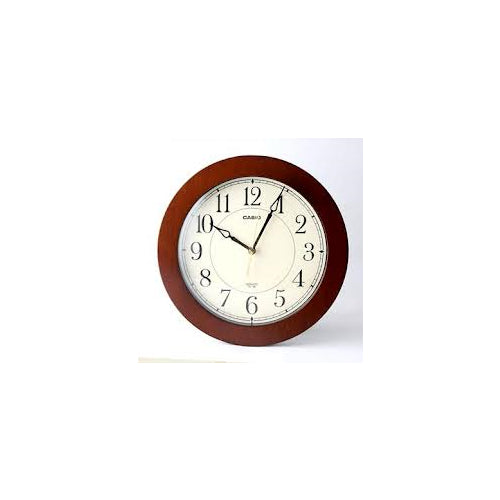 Casio Round Wood Frame White Face Easy to Read Wall No Ticking Clock IQ126-5D
