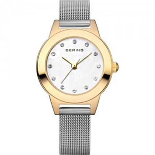 Bering Women's Classic Crystals Gold Tone Stainless Steel Mesh Watch 11125-010