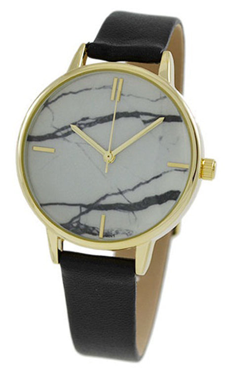 Geneva Women's Black/White Marbleized Dial Casual Watch w/ Leather Band 10031