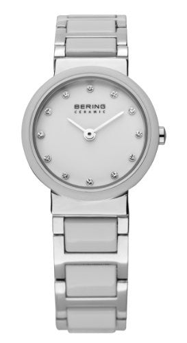 Bering Women's Crystal Accented White Ceramic & Stainless Steel Watch 10725-754