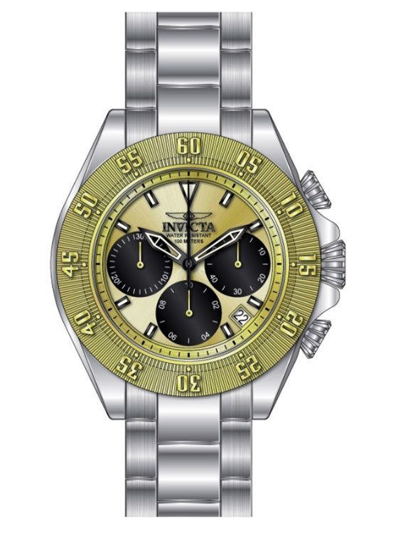 Invicta Men's Speedway Quartz Chronograph Black, Gold Dial Watch 22398