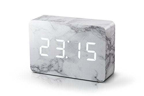 Gingko Brick Marble Click Clock White LED 15W5