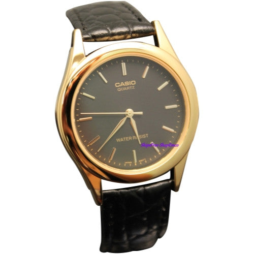 Casio Men's Black Leather Strap MTP1093Q-1A