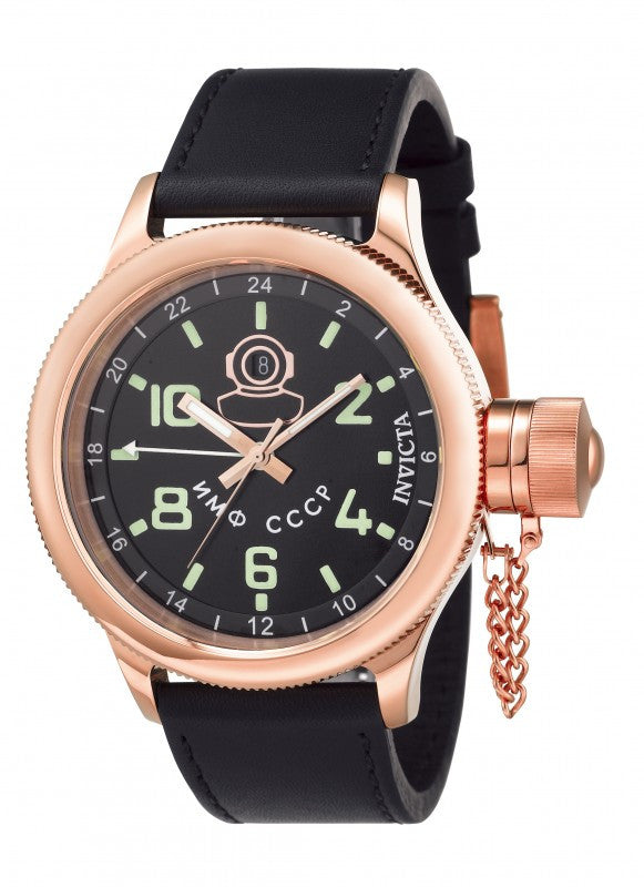 Invicta Men's Russian Diver 100m Rose Gold Stainless Steel Leather Watch 7106