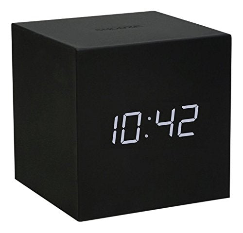 Gingko Gravity Cube Click Clock Black Alarm Clock 18BK