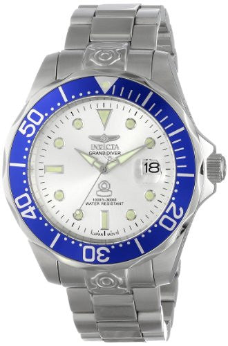 Invicta Men's Pro Diver 300m Silver Dial Stainless Steel Watch 3046
