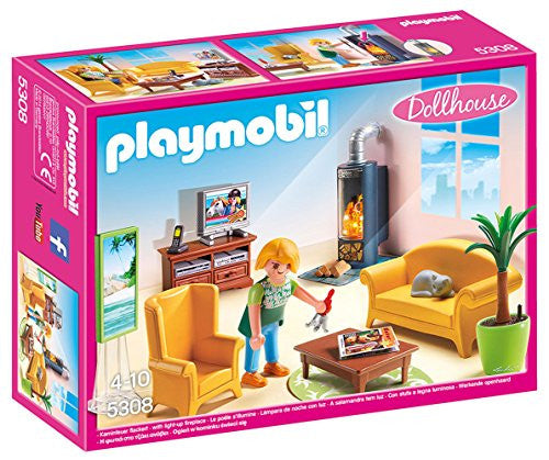 Playmobil Dollhouse Living Room Set with Fireplace 5308 (for Kids 4 to 10)