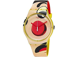 Swatch Dangerous Lies Multicolour Beige Dial Yellow Silicone Mens Watch SUOJ103