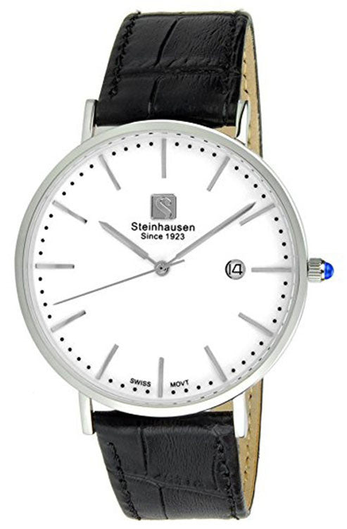 Steinhausen Men's Burgdorf Quartz Stainless Steel Black Leather Watch S0518