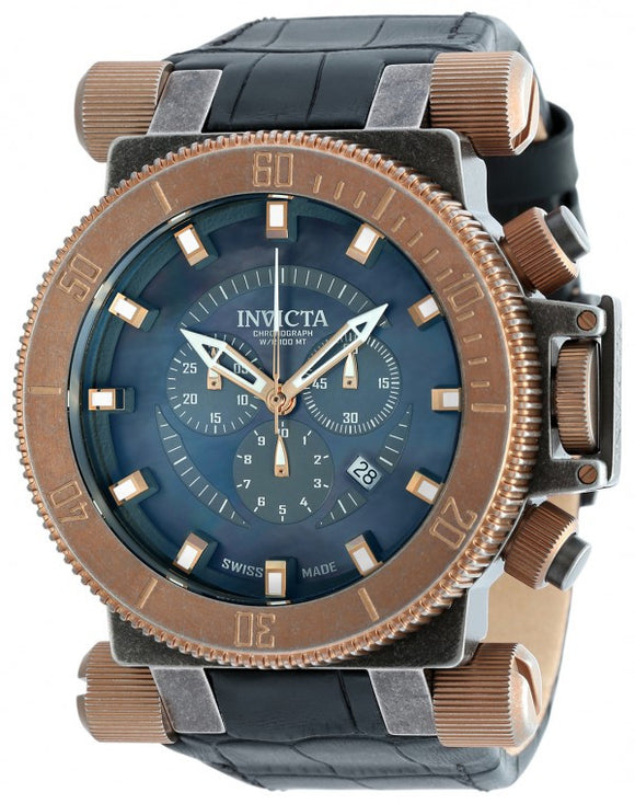 Invicta Men's Coalition Forces Chrono Stainless Steel Black Leather Watch 18463