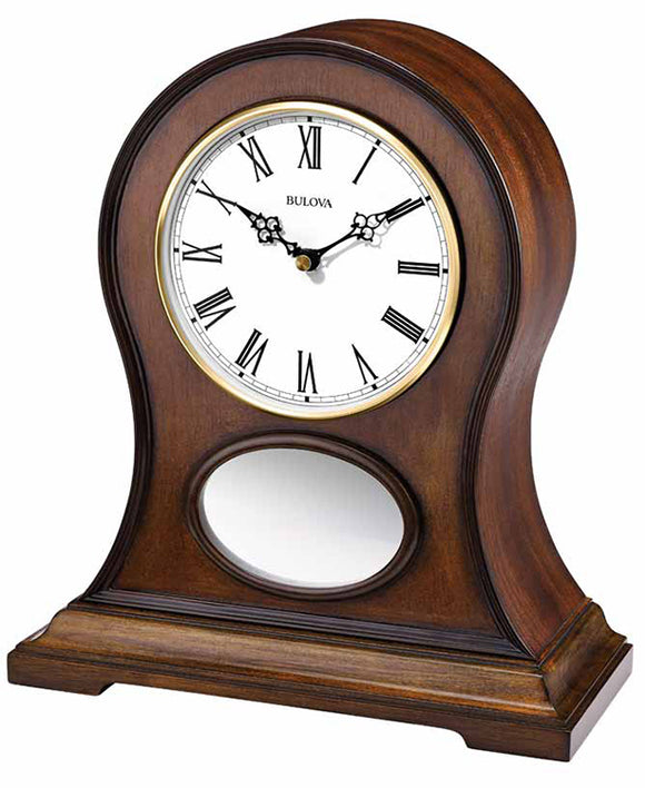 Bulova Brookfield Brown Cherry Finish Wooden Bluetooth Mantel Clock B6217