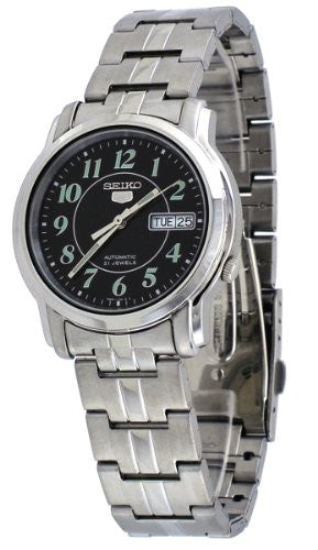 Seiko Men's SNKL93 Stainless Steel Case and Bracelet Black Dial Day and Date Di